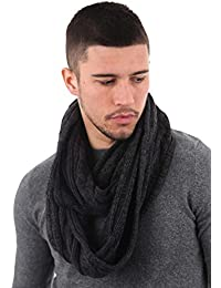 Mens Boys Zane Thick Cable Knit Winter Snood Scarf Neckwarmer (Charcoal)