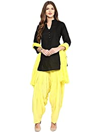 Pistaa Women's Cotton Short Black Kurta And Lemon Yellow Punjabi Patiala Salwar With Dupatta Set & Plus Size