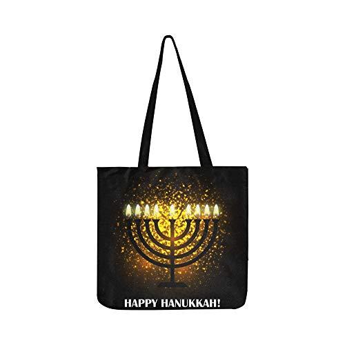 Hanukkah Grußkarte Menorah Traditionelle Kandelaber Leinwand Tote Handtasche Umhängetasche Crossbody Taschen Geldbörsen Für Männer Und Frauen Einkaufstasche -