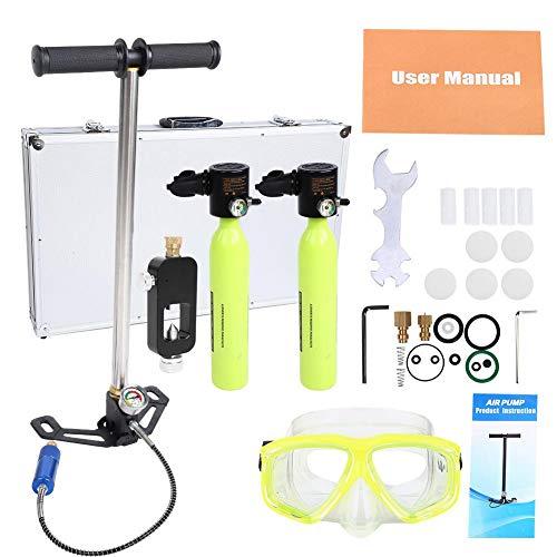Sauerstoffflasche Tauchen, Scuba Diving Sauerstoffflasche Sauerstoffflasche, Tauchen Sauerstoffflaschen-Tauchausrüstung Tauchen Sauerstofftank mit Hochdruckluftpumpe Schnorchelausrüstung-Set(#3)