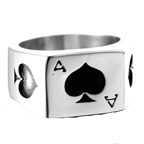 SonMo Herren Ringe Spielkarten Schwarz Herz A Ringe Herren Metall Ringe Edelstahl Männer Siegelring Silber Herrenring Punk Größe:70 (22.3)