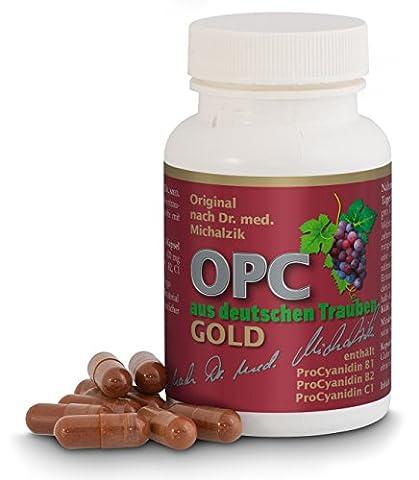 OPC aus deutschen Premium Trauben GOLD nach Dr. med. Michalzik, jede Kapsel enthält 400 mg reiner OPC haltiger Extrakt aus Premium-Trauben, Vitis vinifera (kontrollierter ökologischer, europäischer Anbau) - ohne Zusatzstoffe, 60 vegane