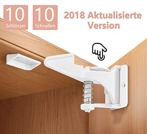 Norjews Kindersicherung Schrank (10er Pack) Baby Sicherheit unsichtbare Schranksicherung für Schubladen und Schranktüren, Montage ohne Bohren und Schrauben