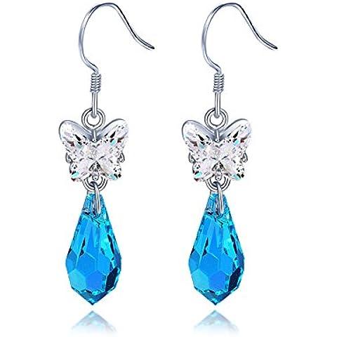 ZWX Ladies Navy semplici orecchini di cristallo/ Silver Fashion Earrings/ orecchini di cristallo di (Pietra Amethyst Silver Ring)