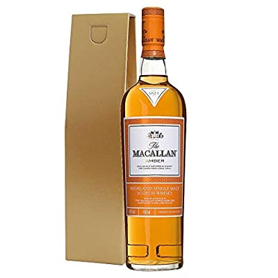 The Macallan 1824 Amber Single Malt Whisky 70cl Bottle in Gold Gift Carton with Hand Crafted Gifts2Drink Tag
