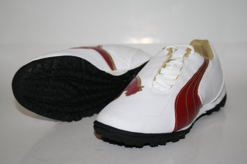 Puma  V5.08 Big Cat II TT Jr., Chaussures de foot pour garçon Blanc - White-Rio Red-Team Gold