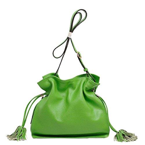 Yy.f Nuovo Sacchetto Di Caramelle Sacchetto Di Secchio Sacchetto Messenger Il Primo Strato Di Borse In Pelle Borsa A Colori Multicolore Green