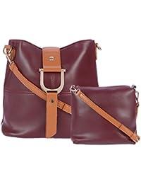 FUR JADEN Women's PU Maroon Sling Bag