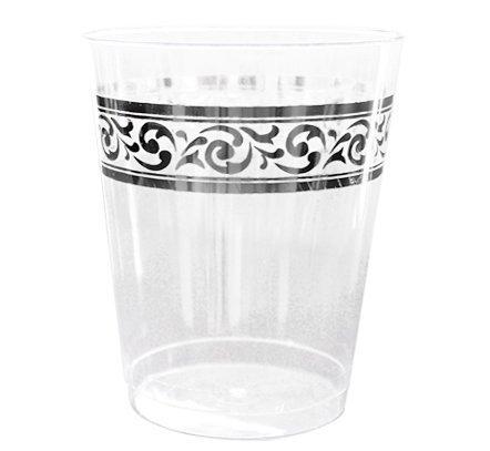 Decorline-Vaisselle de luxe à usage unique-Couleur blanc avec bord motif argent gaufré -Party-jetable -plastique rigide (Verres jetable 300ml )