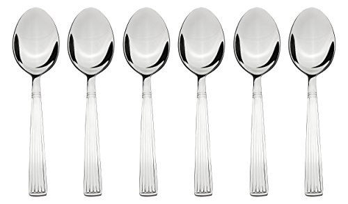 Solimo 6 piece Stainless Steel Table Spoon Set, Stripes