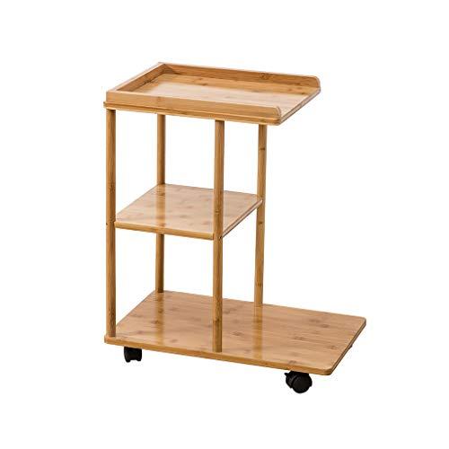 C-J-X TABLE C-J-Xin Nachttisch, Bambus Kreative Multi-Layer-Tisch Es kann Rad Wohnzimmer Schlafzimmer Balkon Freizeit Tisch bewegen Platz Sparen