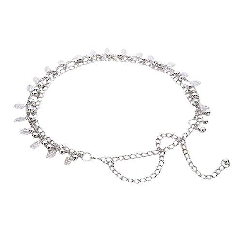 AiSi Damen Fashion Metall Gürtel Kettengürtel Taillengürtel Hüftgurt,Ideal für Kleid, elegantes Design gold silber, Silber 1, Einheitsgröße -