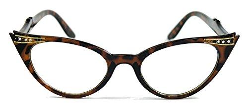 50er Jahre Fashion Brille Cat Eye Modell Klarglas Ombre Nerdbrille Glitzersteine KK N (Hornbrille...