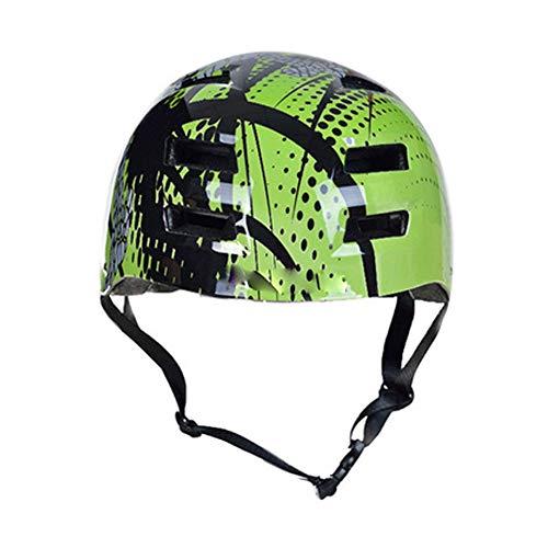 LXFDS Erwachsene Skateboard Helm, Fahrrad reiten ausrüstung Helm, Skating Roller Skate schutzhelm ausrüstung, schutzkappe, reiten Ritter Helm, multifunktions Helm,-Green-L