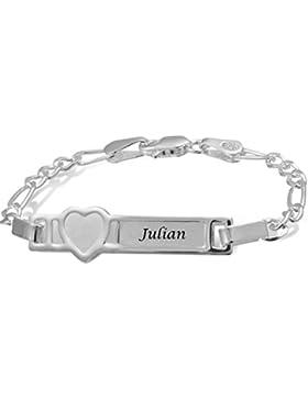 Adomio -Baby Kinder ID Armband - Armband mit Gravur aus massivem echten 925 Sterling Silber mit Herz - 12 cm lang...