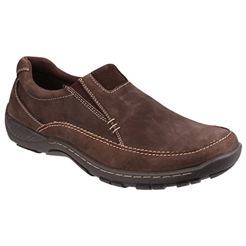 Cotswold Mens Twyning Slip On Leather Casual Loafer Shoes coffee