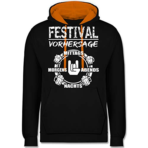 Festival - Festival Vorhersage - XS - Schwarz/Orange - JH003 - Kontrast Hoodie - Hoodie Männer Green Lime