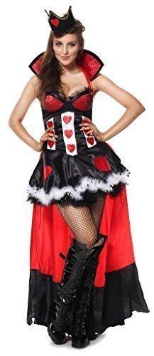 Damen Sexy Königin der Herzen Alice im Wunderland Halloween Buch Tag Woche Verkleidung Kleid Kostüm Outfit 6-14 - Rot, 6-8