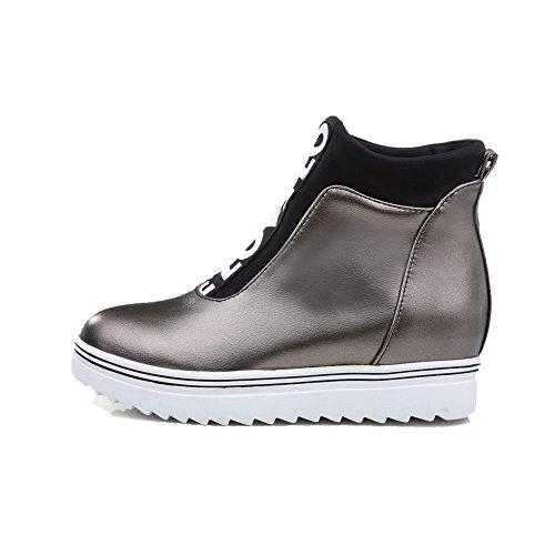 VogueZone009 Damen Blend-Materialien Gemischte Farbe Niedrig-Spitze Ziehen Auf Stiefel Grau