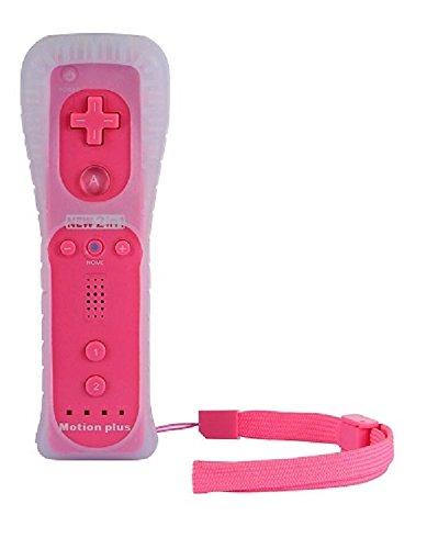 AMGGLOBAL Integriert in Motion Plus Fernbedienung Für Nintendo WII Fern WII GRATIS SILIKON HÜLLE PINK SCHWARZ BLAU WHIE ROT DARKNESS blau - Hot Pink