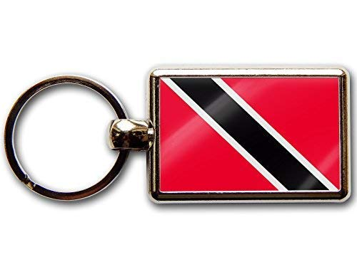 Moody Motorz Trinidad und Tobago Flagge National Farben Hochwertig Chrom Schlüsselring Bild Beide Seiten