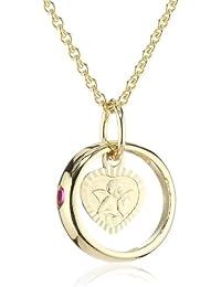 Xaana Kinder und Jugendliche Halskette Taufring mit Schutzengel 8 Karat (333) Gelbgold Rubin rot + 925 Silber Kette vergoldet 36-38 cm AMZ0194