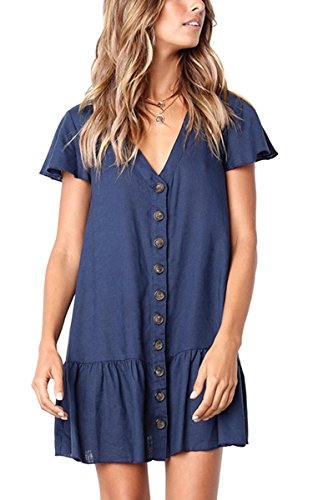 Angashion Women's Short Sleeve Casual Summer Dress with Pockets 0953 Navy Blau M