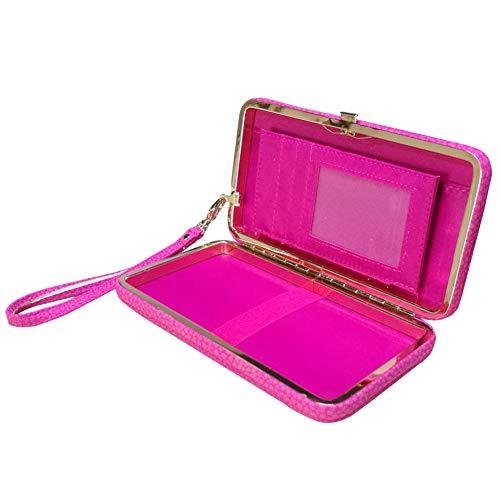 Aeeque Schleife Design Lady Mädchen Brieftasche,Groß Kapazität Damen Geldbörse,Handy Leder Phone Case Hülle mit Karte Halter Handschlaufe Strap, Multifunktions Portemonnaie Handtasche Geldbeutel,Pink Lady Hot Pink Leder