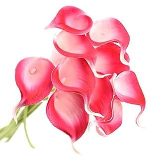 FiveSeasonStuff 10 Piezas de Toque Realista Lirios Cala Artificial Calidad Ramo de Flores, Boda, Nupcial, Partido, Hogar, Oficina de la Decoración de DIY (Romance)
