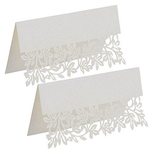 Milopon 50x Tischkarten Platzkarten Papier Namenskärtchen Tischkärtchen für Hochzeiten Partys Weiß (Rechteckig)
