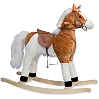 TEOREMA Theorem 36004 – Rocking Horse with Sounds, Saddle 56 cm, White/Brown