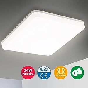 Oeegoo LED Deckenleuchte Badlampe 24W, IP44 Wasserdichte Badezimmerlampe, 2400LM Flimmerfreie Bürodeckenleuchte Deckenlampe für Wohnzimmer Schlafzimmer, Balkon, Flur, Küche Neutralweiß 4000K