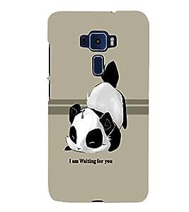 PrintVisa Cute Cartoon Panda Waiting 3D Hard Polycarbonate Designer Back Case Cover for ASUS ZENFONE 3 Deluxe