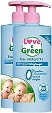 Amor y verde hipoalergénico Agua Limpiadora 750 ml - Lote de 2