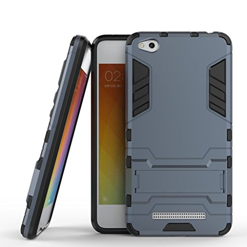 Fundas Xiaomi Redmi 4a Funda Carcasa Case, Ougger Protector Extrema Absorción de Impacto [Kickstand] Piel Armor Cover Duro Plástico + Suave TPU Ligero Rubber 2in1 Back Gear Rear Black