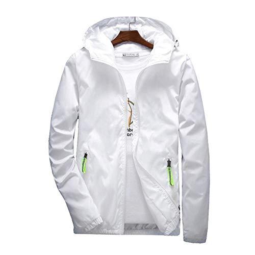 5XL 7XL Frühling Herbst Junge Männer Windbreaker Kapuzenjacke Schlank Dünn Kleidung Top Qualität Wasserdicht Plus Größe Weiß, 7XL ()