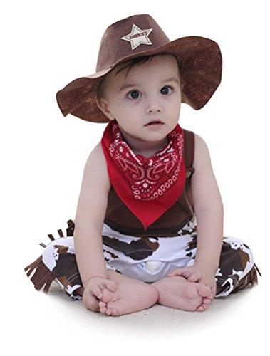 ARAUS Baby Jungen Outfits Cowboy Strampler + Hut + Halstuch Kostüm Party Verkleidung 0-24 Monate