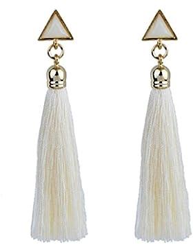 Pendientes Bohemio, Holacha Pendientes de Cuerda colgante étnica Aretes Con flecos Largo Borla para Mujeres