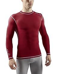 Sub Sports - Camiseta de compresión para hombre, talla L, color granate