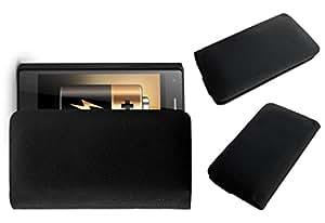 ACM Rich Leather Soft Case for Zen Admire Fab Mobile Handpouch Cover Carry Black