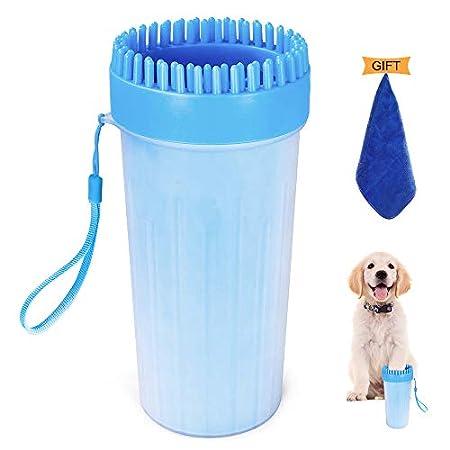Hunde Pfotenreiniger, 2 in 1 Upgrade Hunde Pfote Reiniger Tragbar mit Handtuch Mikrofaser Sanfte Reinigungsbürste für…