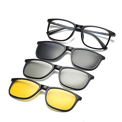 Unisex-Sonnenbrille Retro polarisierte Sonnenbrille mit Wechselobjektiven 3pcs für Männer Frauen-Nachtansicht und Linse 3D Unbreakable TR90 Rahmen-Klipp-UVschutz-magische Sonnenbrille mit magnetischem