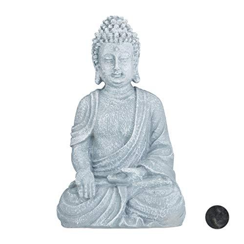 Relaxdays Statua Zen del Buddha Seduto XL, 40 cm, Feng Shui, per Esterni, da Giardino, Decorativa, Grigio Chiaro