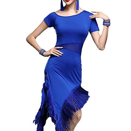 Ljleey-CL Damen tanzen Rock Damen Latin Dancewear Kurzarm Split Bein Fransen Quaste Flapper Dance Kleider Salsa Tango Gesellschaftstanz Kostüm Praxis Leistung Tanz Kleid (Farbe : Blau, Größe : XL) (Jazz Kostüm Zum Verkauf)