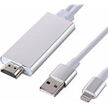 O2+ Lightning 8-pin to HDMI HDTV AV Cable Adapter for Apple iPhone iPod iPad (Works with iOS 10)