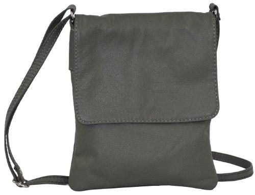 Artisanal en cuir souple italien petit et moyen Messenger Cross Body ou sac à main.Comprend un sac de rangement protecteur marque. Petit Foncé Gris
