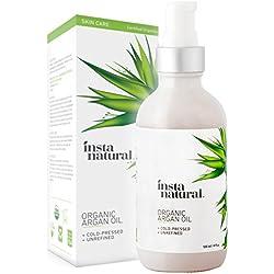 InstaNatural - Aceite de Argán Orgánico Marroquí para cara, piel, cabello y uñas, 100% Puro y Natural, Humecta y suaviza la piel y el cabello, y fortalece tus uñas, 120 ml