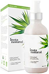 InstaNatural Organic Argan Oil - 100% pure & certified organic, cold pressed from Morocco - For hair & face, For acne, brittle nails, dry scalp, split ends, stretch marks - 120 ml