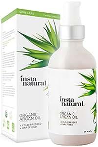 InstaNatural Bio Arganöl–Für Haare sowie Gesicht und Körper–Zertifiziert biologisches, kaltgepresstes aus Marokko –Akne, brüchigen Nägeln, Trockener Kopfhaut, Spliss und Dehnungsstrreifen–120ml
