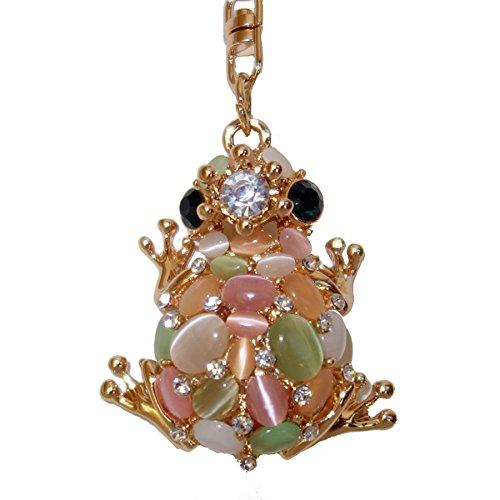 Utrendo Schlüsselanhänger Glücksbringer Froschkönig mit Glitzersteinen (Handtasche Italienische Design Akzent)